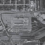 Terminal Landscape 1956: The site of the Ontario Food Terminal in 1954 located in Etobicoke, a suburb just west of the city centre bordered by Park Lawn Road, the Canadian National Railway to the east, and squeezed in between the Queensway to the North and the Gardiner Expressway to the south.