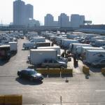 View of many trucks