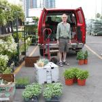 man with red van, back doors open with many plants