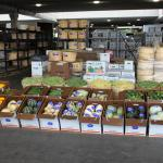 rows of boxes with fall produce