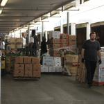 inside view of warehouse, people and forklifts moving through