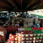 elevated view of wooden bushels of produce