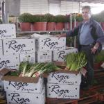 boxes labeled Riga Farms, man standing beside them.